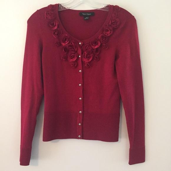White House Black Market Sweaters Red Roses Cardigan Poshmark